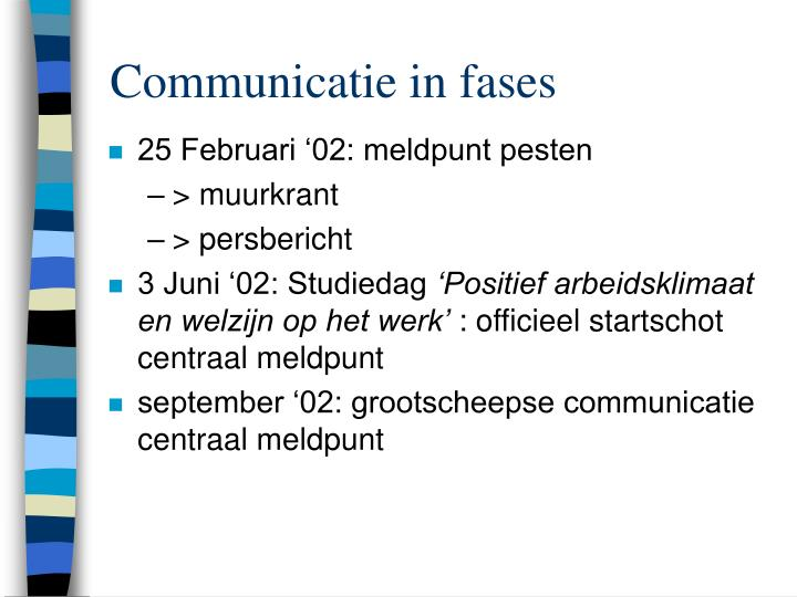Communicatie in fases