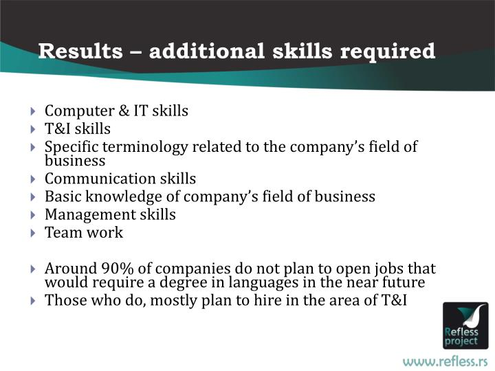 Results – additional skills required