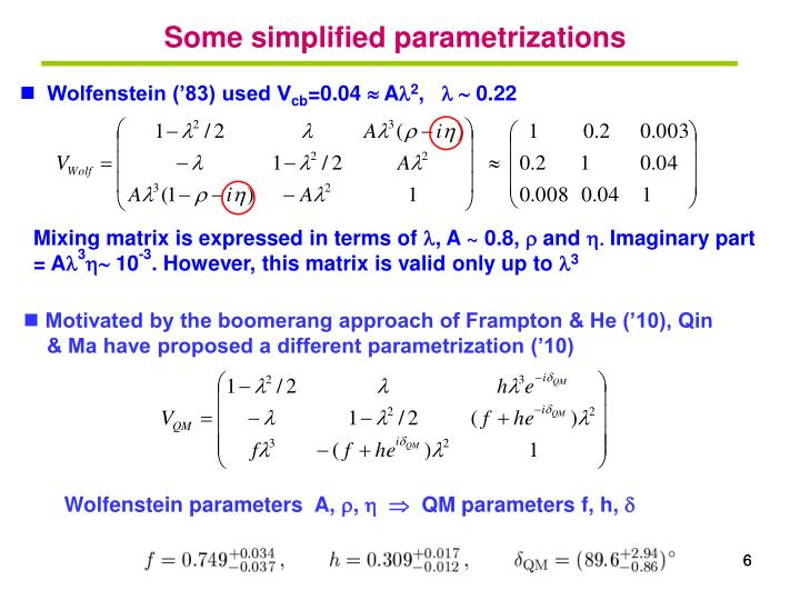Some simplified parametrizations