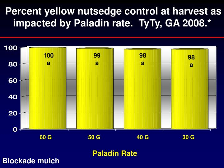 Percent yellow nutsedge control at harvest as impacted by Paladin rate.  TyTy, GA 2008.*