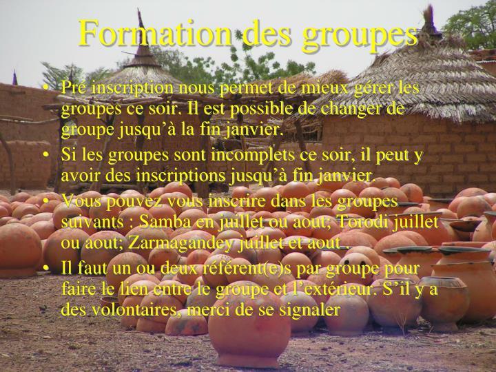 Formation des groupes