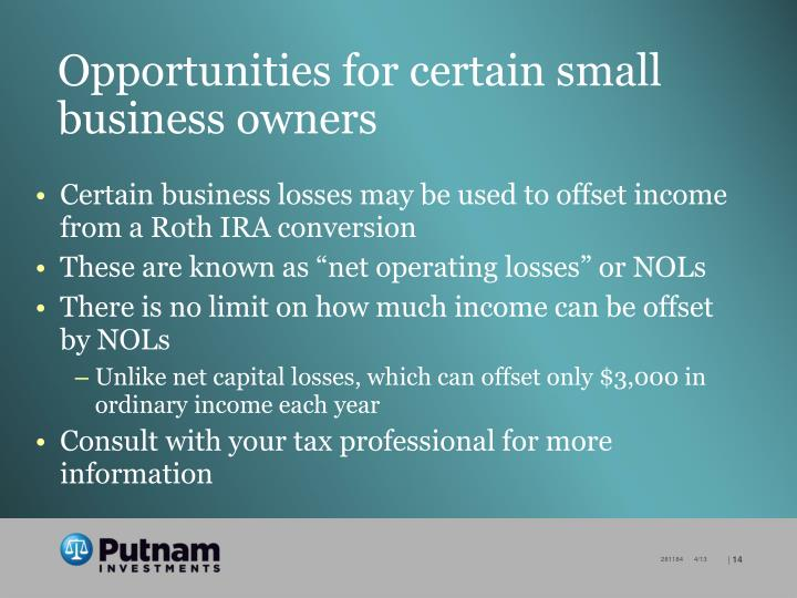 Opportunities for certain small business owners