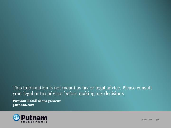 This information is not meant as tax or legal advice. Please consult