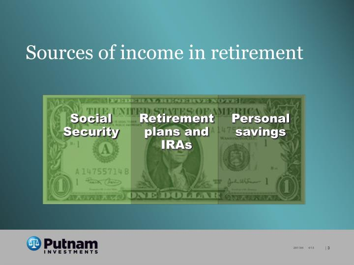 Sources of income in retirement