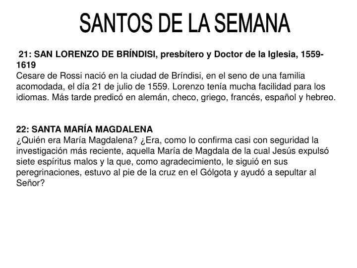 SANTOS DE LA SEMANA