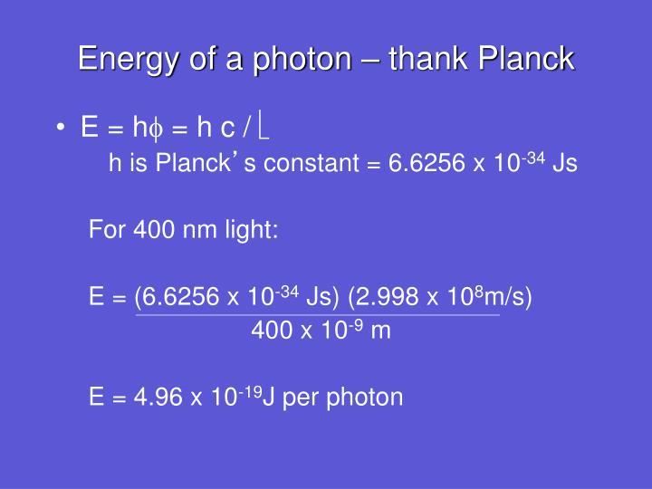 Energy of a photon – thank Planck