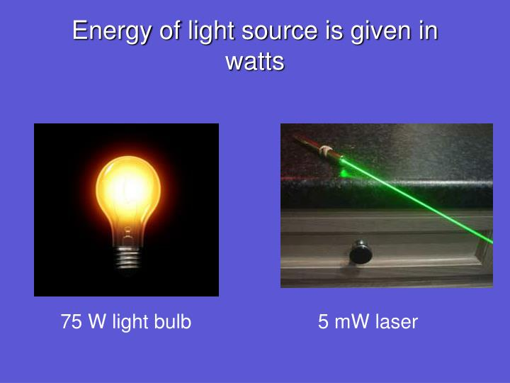 Energy of light source is given in watts
