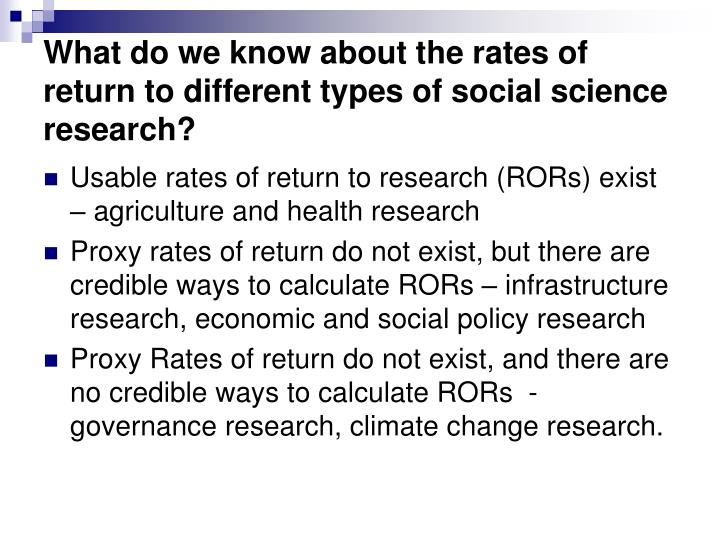 What do we know about the rates of return to different types of social science research?