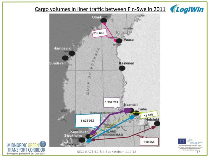 Cargo volumes in liner traffic between Fin-Swe in 2011