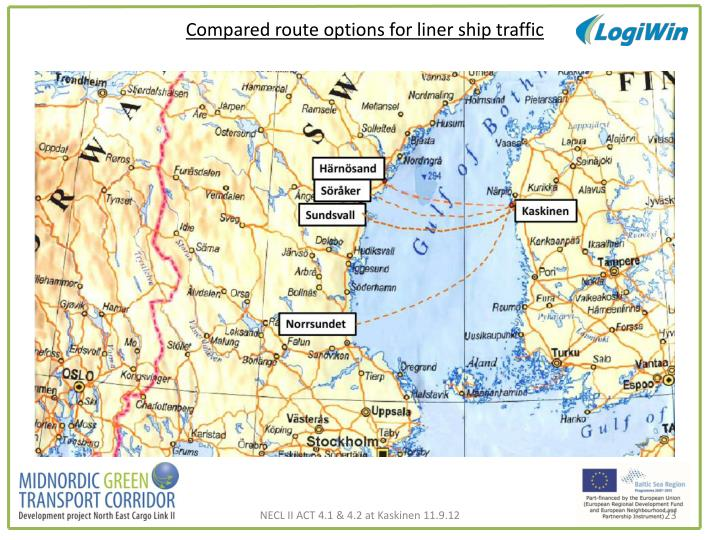 Compared route options for liner ship traffic