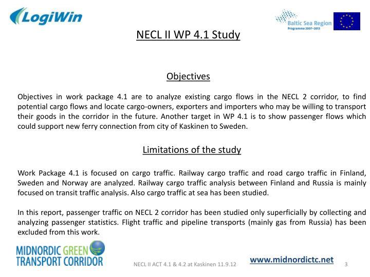 NECL II WP 4.1 Study