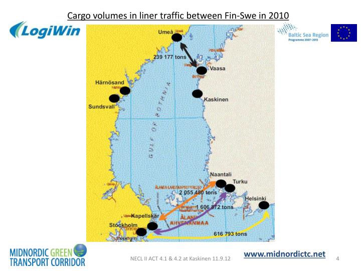 Cargo volumes in liner traffic between Fin-Swe in 2010