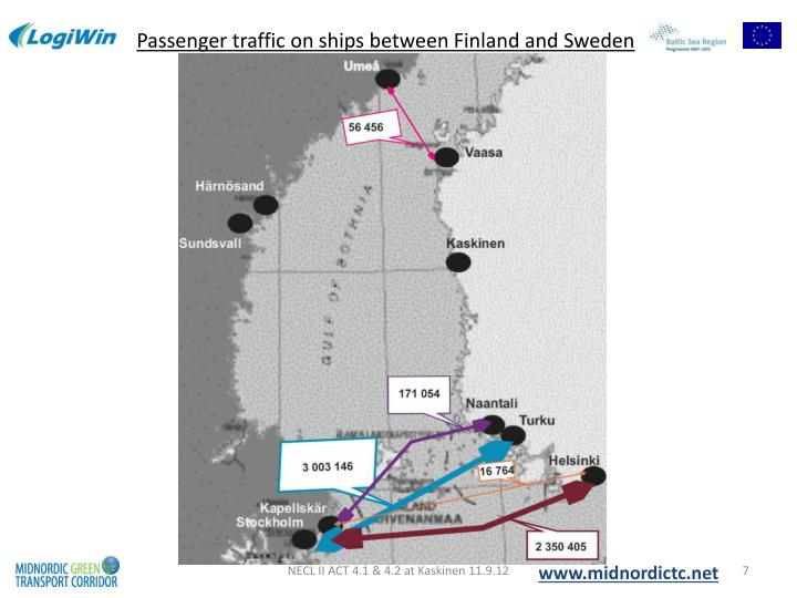 Passenger traffic on ships between Finland and Sweden
