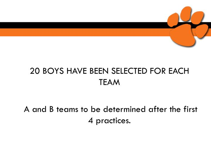 20 BOYS HAVE BEEN SELECTED FOR EACH TEAM