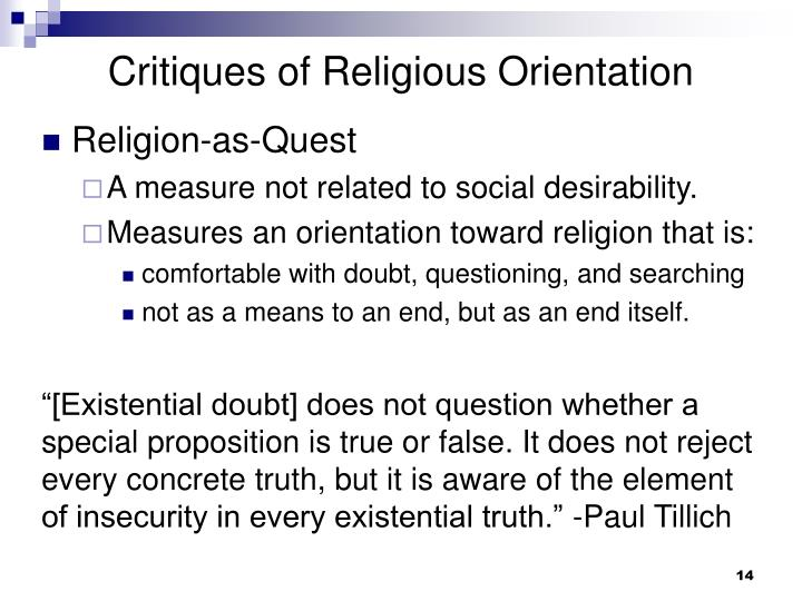 Critiques of Religious Orientation