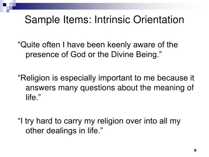 Sample Items: Intrinsic Orientation