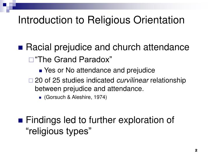 Introduction to Religious Orientation