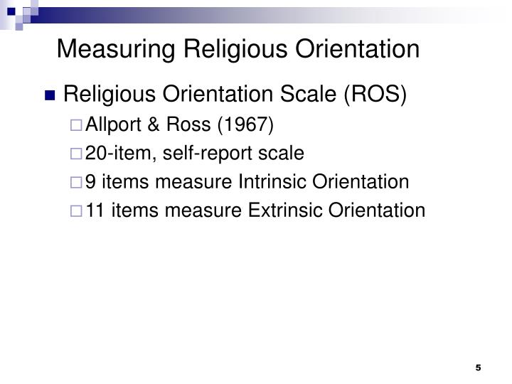 Measuring Religious Orientation