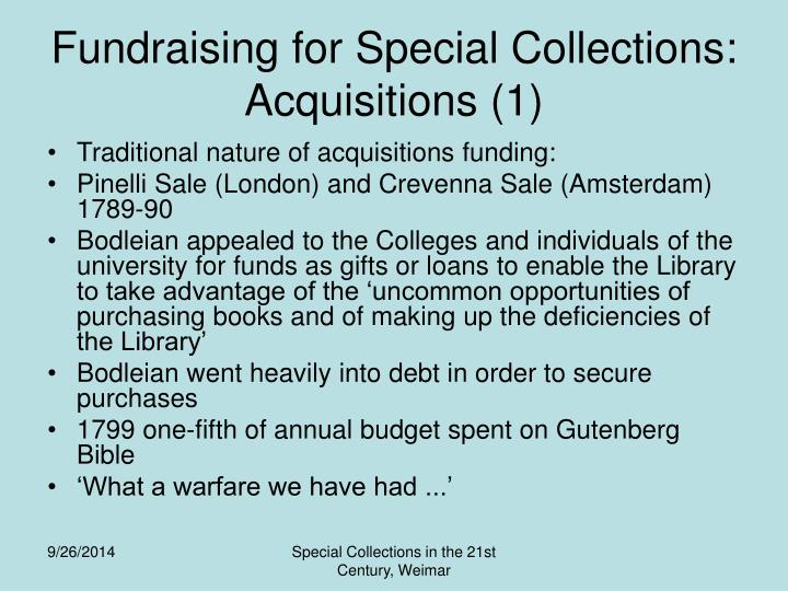 Fundraising for Special Collections: Acquisitions (1)