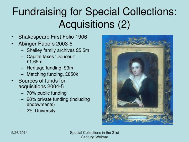 Fundraising for Special Collections: Acquisitions (2)
