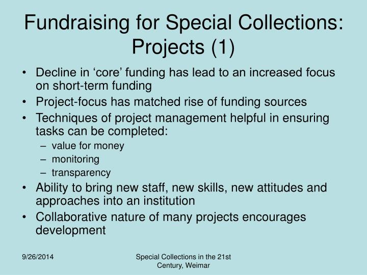 Fundraising for Special Collections: Projects (1)