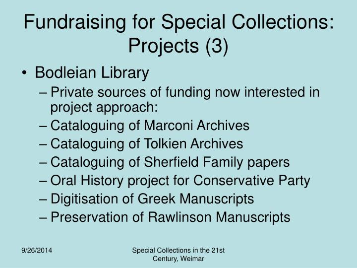 Fundraising for Special Collections: Projects (3)