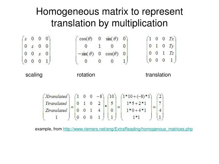 homogeneous coordinates and matrix representation Homogeneous coordinates homogenous coordinates utilize a mathematical trick to embed three-dimensional coordinates and transformations into a four-dimensional matrix format - homogeneous coordinates and matrix representation introduction as a result, inversions or combinations of linear transformations are simplified to inversion or multiplication of the corresponding matrices.