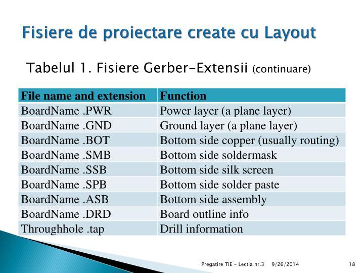 Fisiere de proiectare create cu Layout
