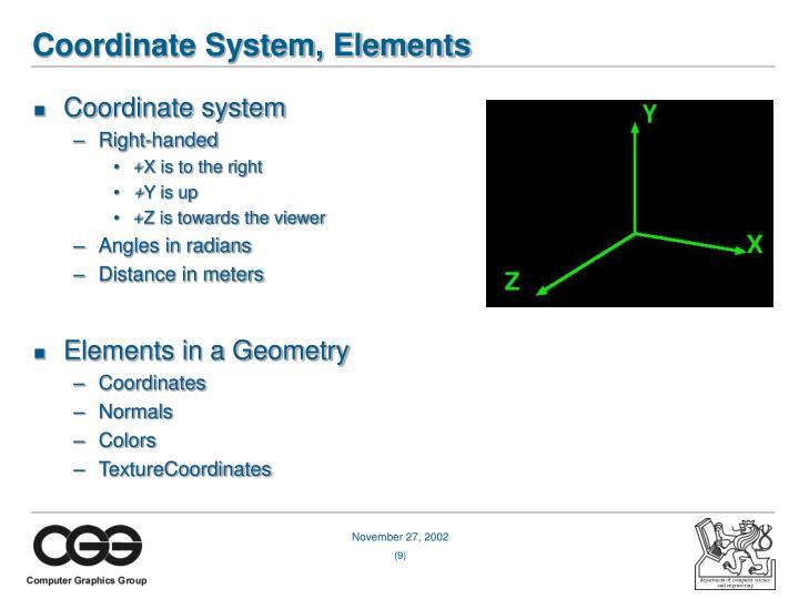 Coordinate System, Elements