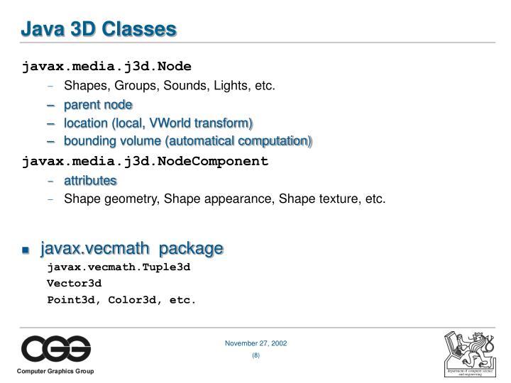 Java 3D Classes