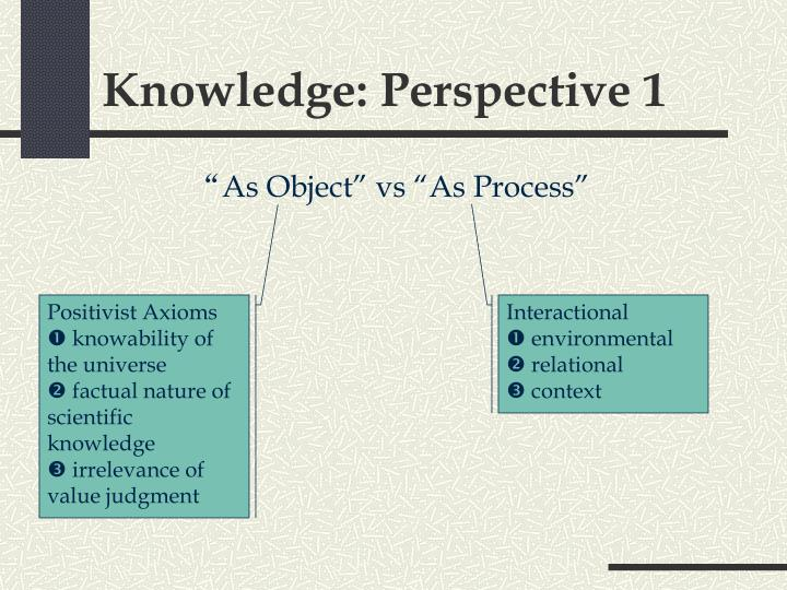 Knowledge: Perspective 1