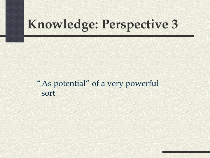 Knowledge: Perspective 3