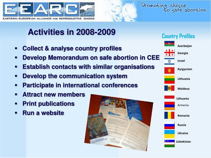 Activities in 2008-2009