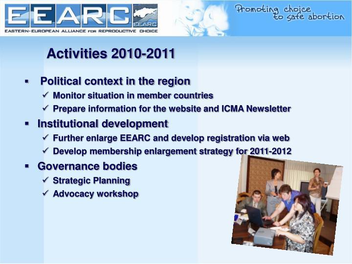 Activities 2010-2011