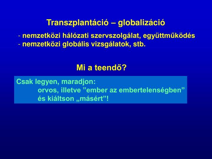 Transzplantáció – globalizáció