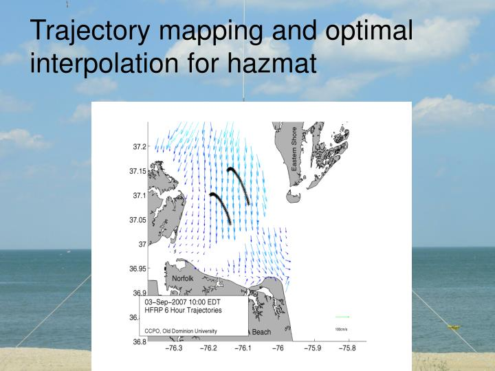 Trajectory mapping and optimal interpolation for hazmat