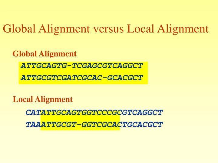 Global Alignment versus Local Alignment