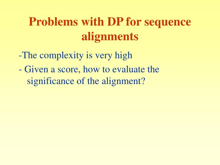 Problems with DP for sequence alignments