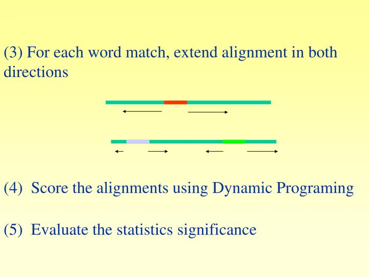 For each word match, extend alignment in both