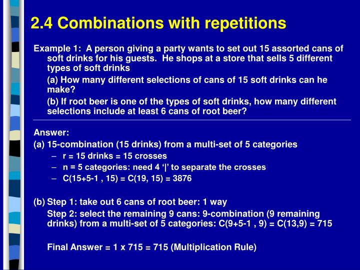 2.4 Combinations with repetitions