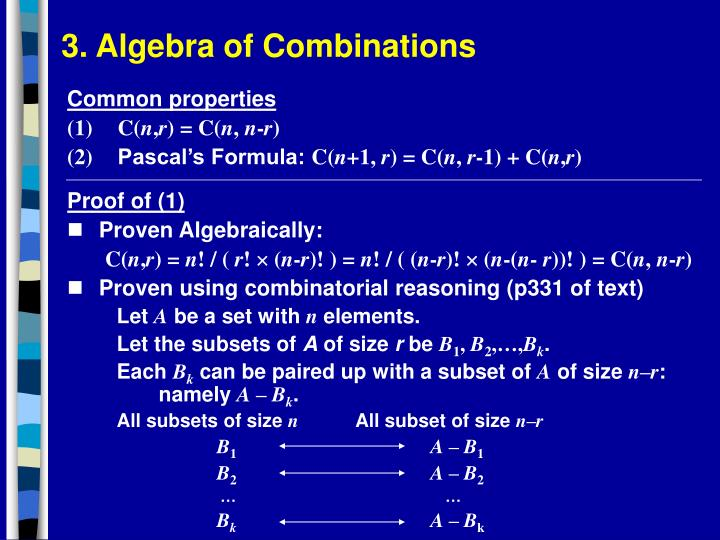3. Algebra of Combinations