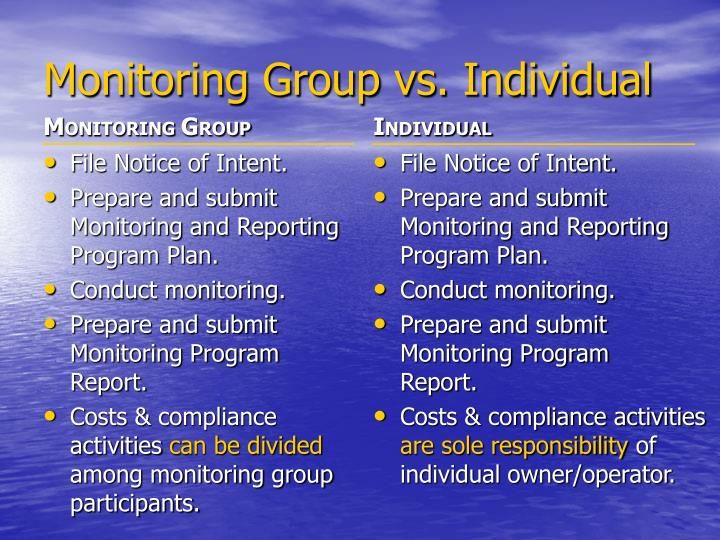 Monitoring Group vs. Individual