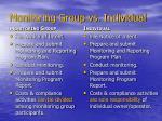 monitoring group vs individual