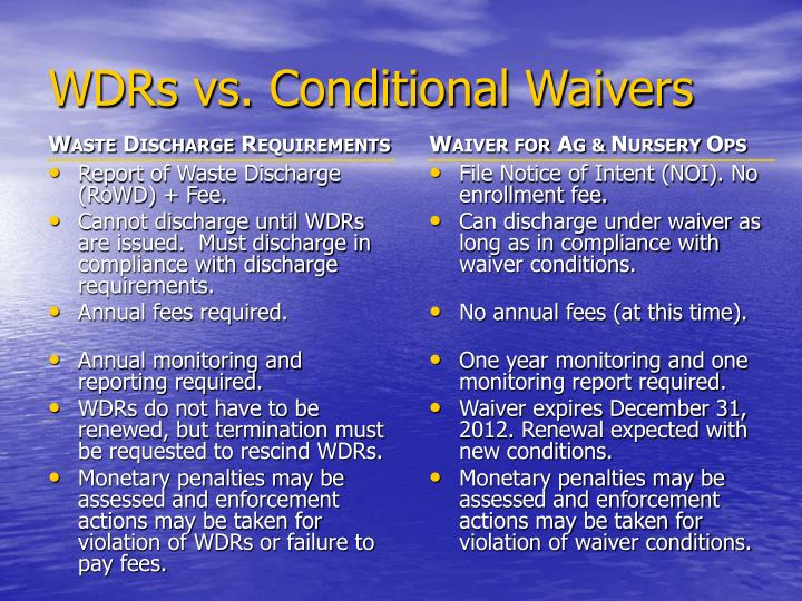WDRs vs. Conditional Waivers