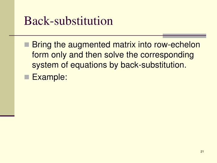 Back-substitution