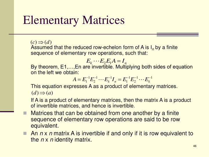 Elementary Matrices