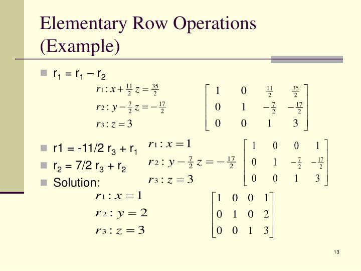 Elementary Row Operations (Example)