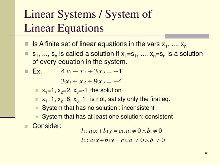 Linear Systems / System of