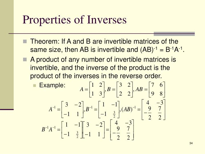 Properties of Inverses