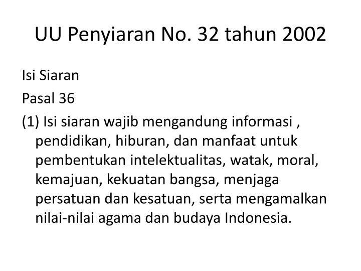 UU Penyiaran No. 32 tahun 2002